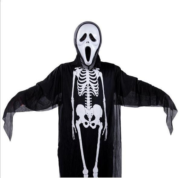 2pcs Kids Halloween Black Ghost Costume with Mask Skeleton Ghost Costu