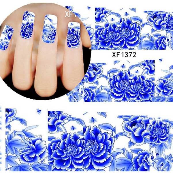 2PCS Set Blue and White Porcelain Pattern Nail Stickers Water Trans