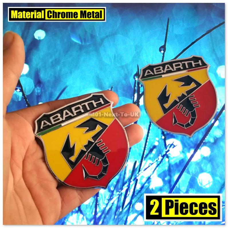 2x ABARTH 6cm HQ 3D Metal Badge Car Trunk Side Auto Emblem Logo Fender