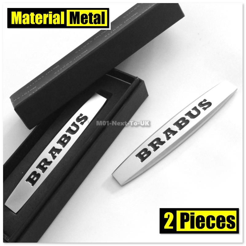 2x BRABUS MATT SILVER HQ 3D Chrome Metal Car Fender Badge Body Side Sk