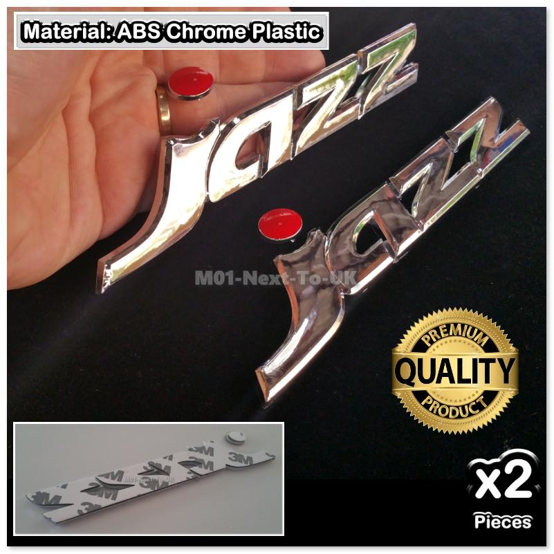 2x JAZZ Chrome 3D Car Trunk Badge Side Auto Emblem Logo Fender Adhesiv