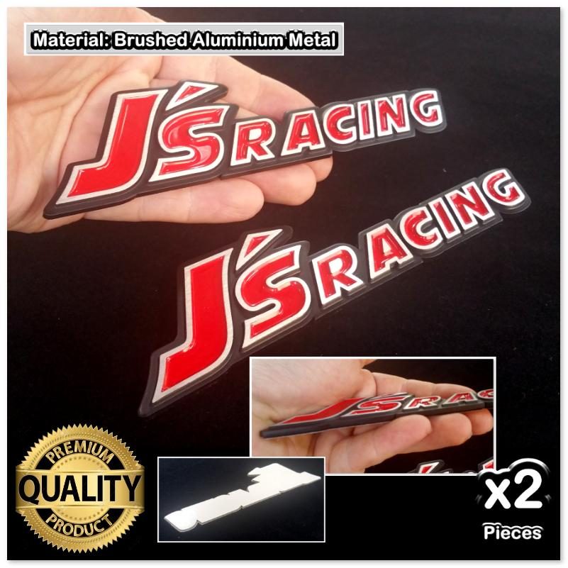 2x JS RACING Red HQ Aluminium Metal 3D Chrome Car Badge Emblem Brushed
