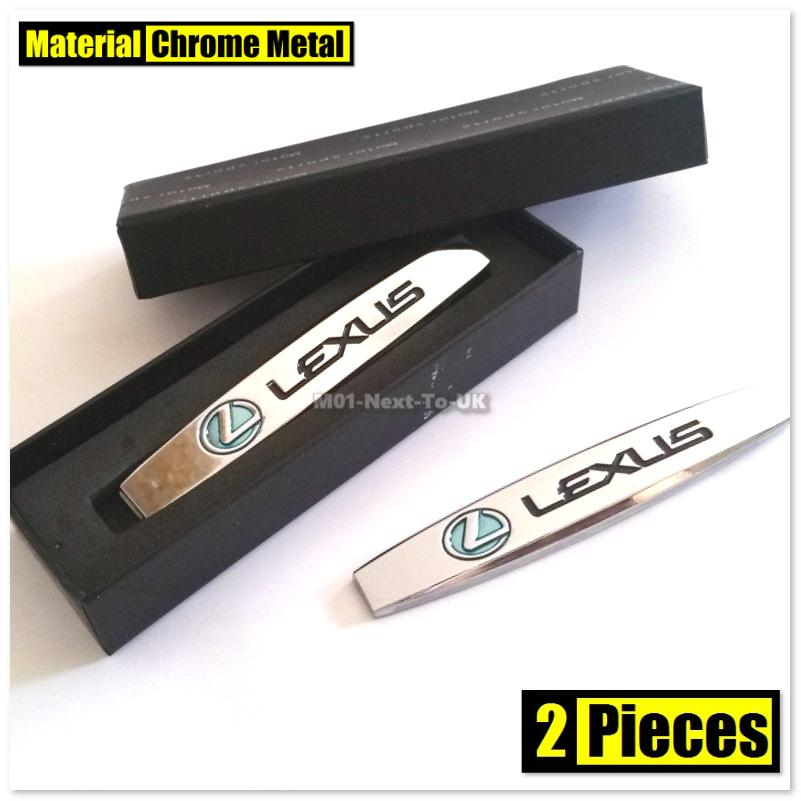 2x LEXUS CHROME HQ 3D Chrome Metal Car Fender Badge Body Side Skirts S