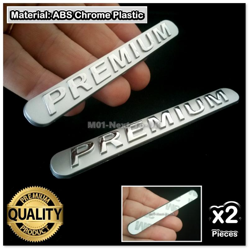 2x PREMIUM Chrome n Dull Finish 3D Car Badge Decal Emblem Trunk Side L