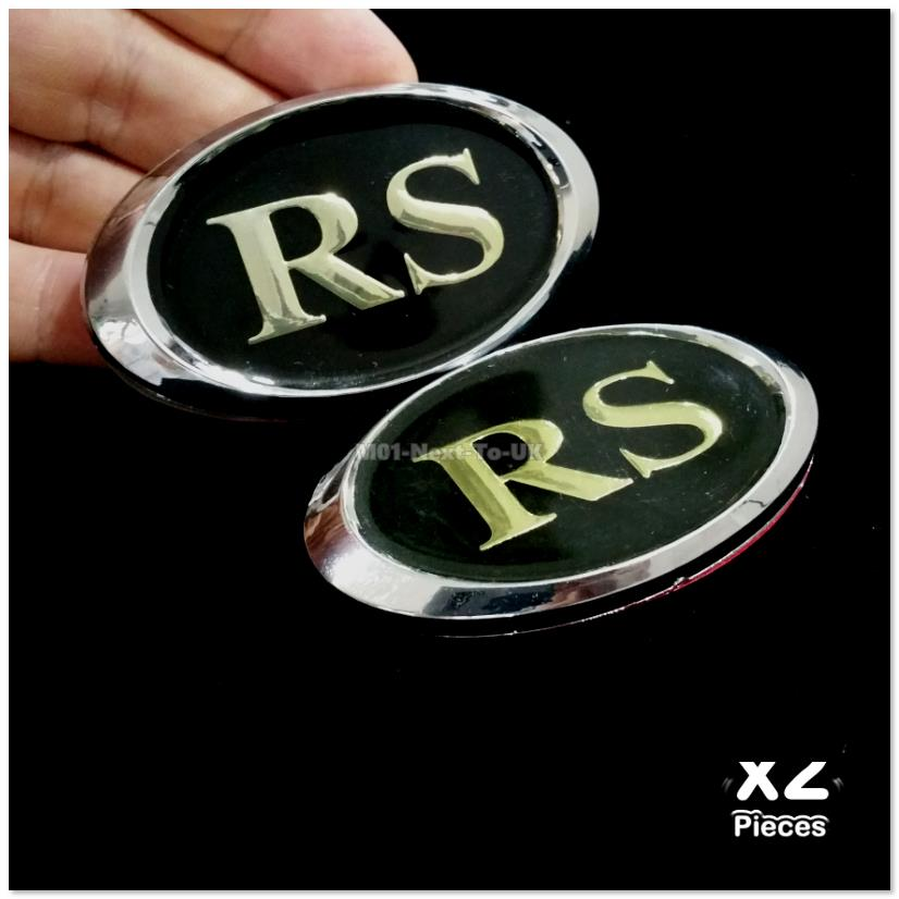 2x RS BLACK 3D Chrome Car Badge Decal Emblem Trunk Side Logo Auto Repl