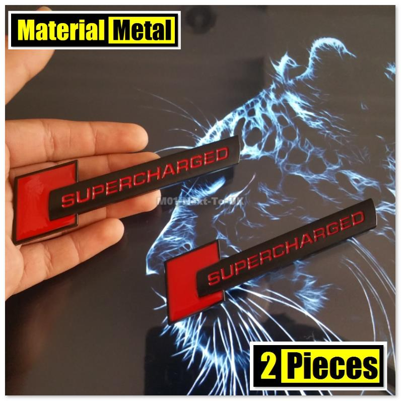 2x SUPERCHARGED MATT BLACK RED 10.6cm HQ 3D Metal Car Trunk Badge Side