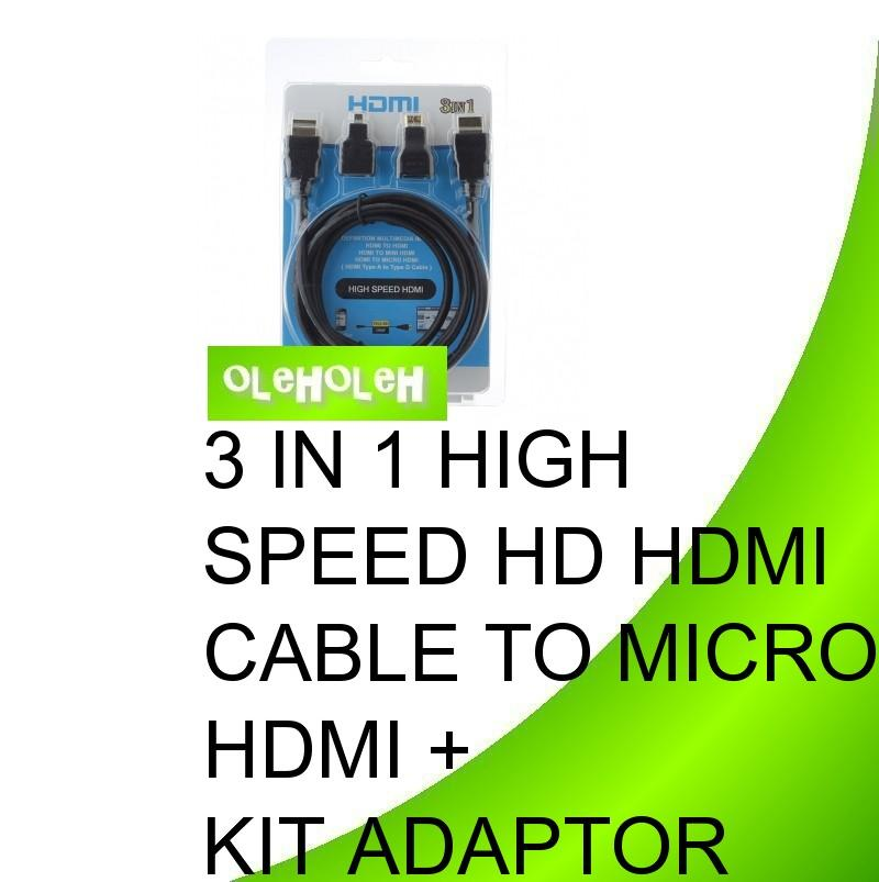 3 in 1 High Speed HD HDMI Cable to Micro HDMI + Kit Adaptor