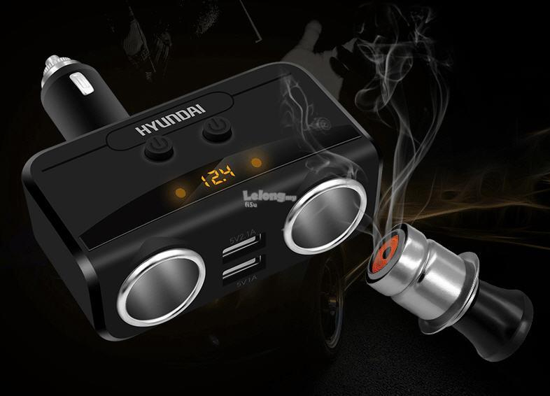 3.1A 80W 2 USB & Cigarette Socket Car Charger + Car Batt Volt Display