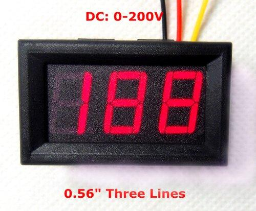 3 Digits 0.56' 3 Wire DC 0-200V RED LED Digital Voltmeter