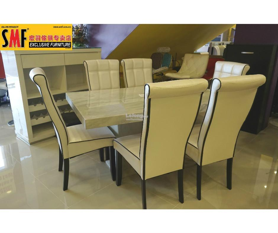 3 X 5 MARBLE DINING SET WITH 6 CHAIRS