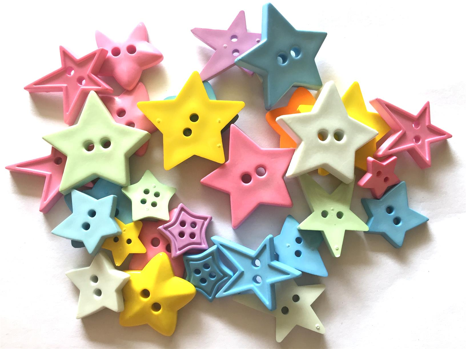 30 pcs mix big star buttons mix color