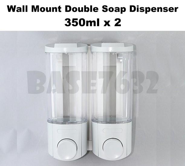 350ml*2  Wall Mounted Liquid Shampoo Soap Pump Dispenser Double