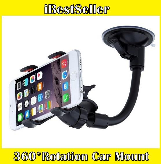 360 Rotation Car Mount Windshield Phone Holder For Most Phone