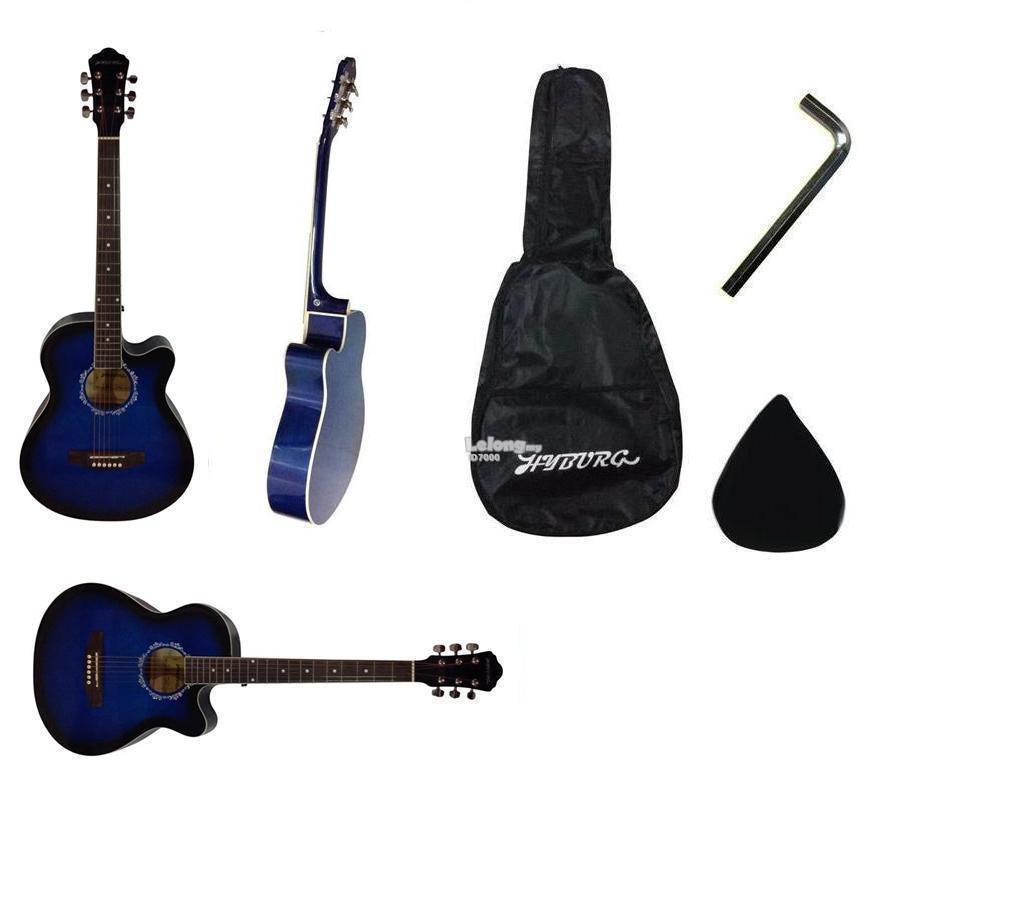 39 Inch High Gloss HYBURG Acoustic Guitar(Blue)+Bag+Pick+Allen Key