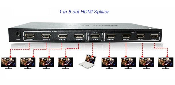 3D 1 to 8 Port HDMI Splitter 1080P