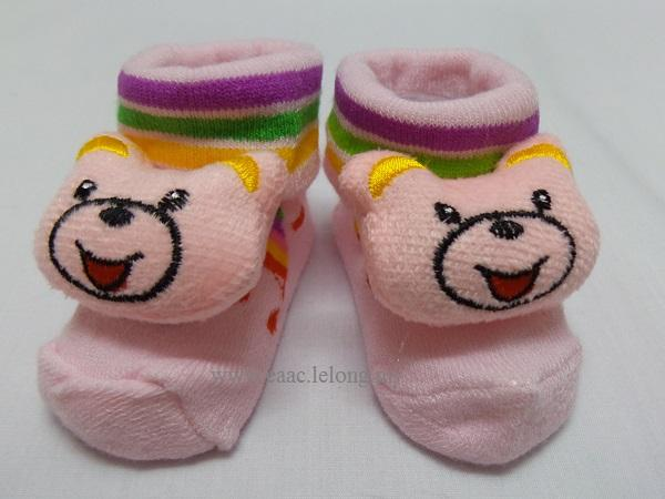 3D Cute Pink Bear Cotton Baby Socks Stoking