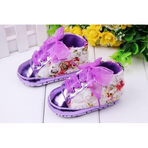3D Flowers Purple Baby Shoe