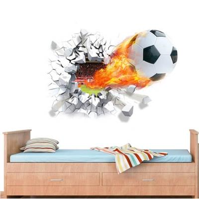 New 3D Mural Fire Football Removable Wall Stickers for Kids Children R
