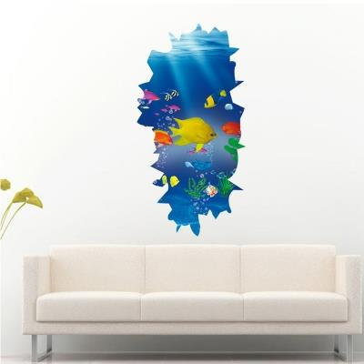 3D Stereo Undersea Paradise Wall Stickers Refrigerator Washing Machine