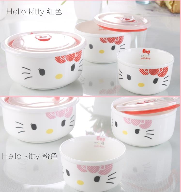 3pcs Hello Kitty Ceramic Microwave Bowl (Pink)