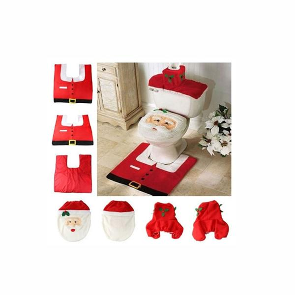 3pcs The Santa Claus Toilet Seat Cover