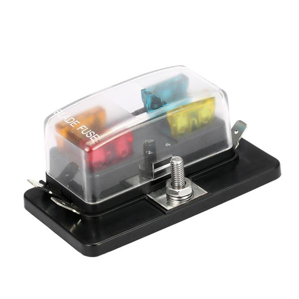 4 Way Blade Fuse Box Holder for Car Van Boat Marine 12V 24V