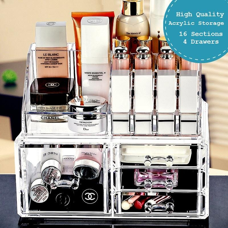4 Drawer Acrylic Cosmetics Organizer Makeup Accessories Storage Box