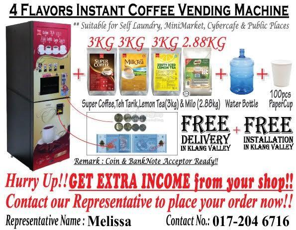 4 flavour commercial instant coffee machine with coins and notes
