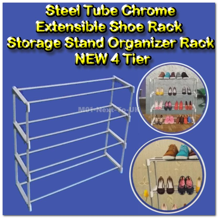 4 Tier RackSteel Tube Chrome Extensible Shoe Rack Storage Stand Organi