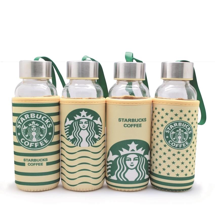 4 Units x 300ml Starbuck Cover Glass Water Bottle