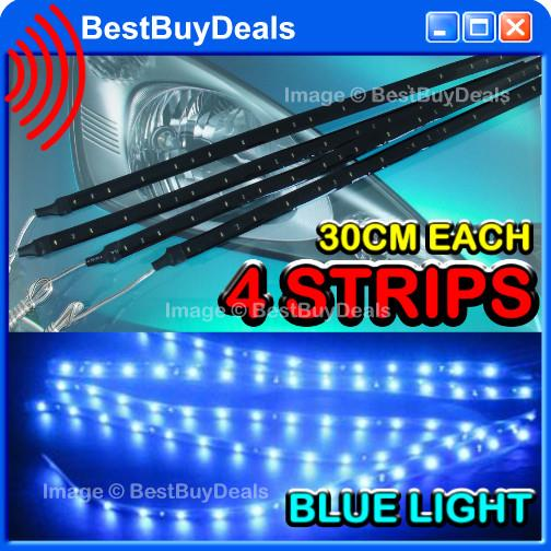 "4x PCS Blue 30CM 12"" 15 LED CAR FLEXIBLE WATERPROOF STRIP UNDER CAR TR"