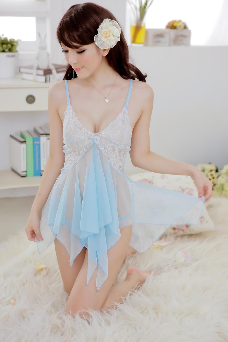 5 Colours Transparent Nightdress Lingerie Sleepwear with MC188