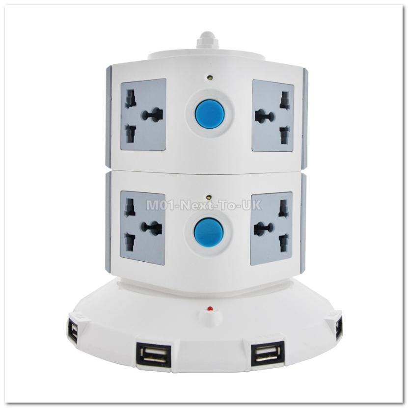 5 USB Port LED 2 Layer Extension Cord Vertical 8 AC Power Socket GRAY