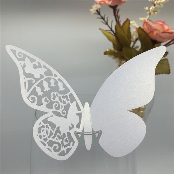 50 PCS Pretty White Butterfly Delicate Place Cards Excellent Seat Card