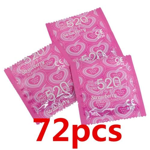 '520' Strawberry Flavor Condom / Kondom (72 pcs) - Expire 2019