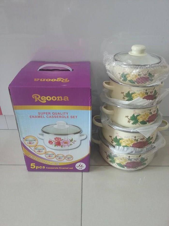 5pcs Casserole Set Enamel Soup Storage Bowl