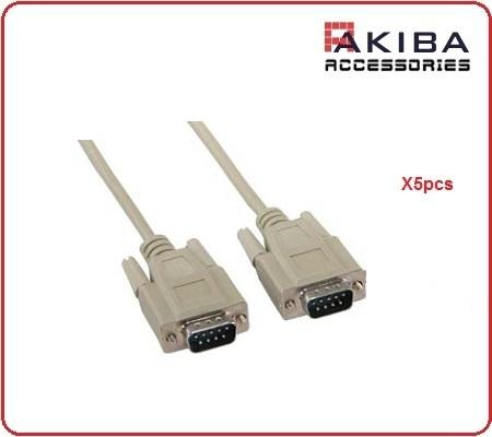 5pcs RS232 M to M DB9 Straight Pin Serial Cable (5m)