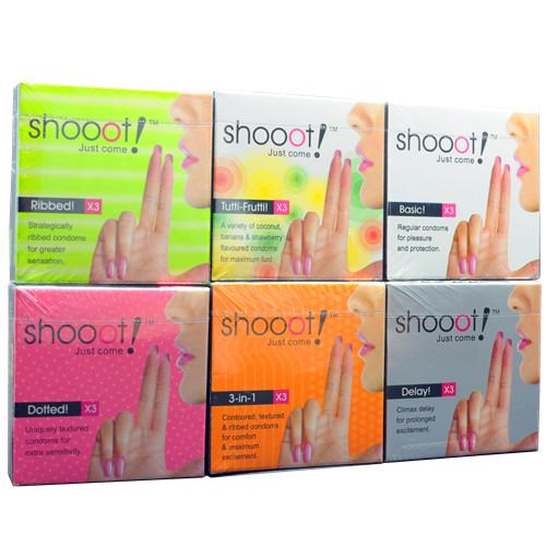 6 in 1 Shooot Condom / Kondom Combo Pack 18 pcs