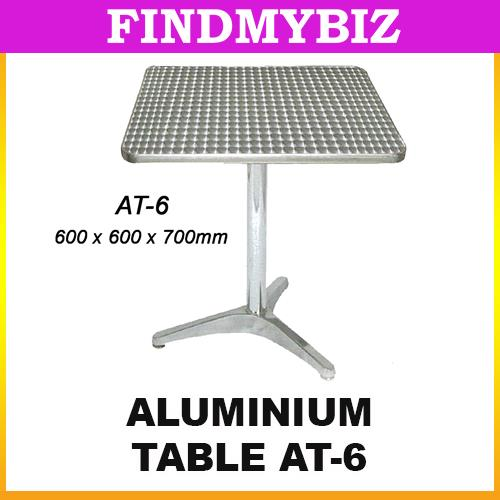 AT-6 ALUMINIUM SQUARE MEETING TABLE MAMAK CAFE COFFEE SHOP SILVER