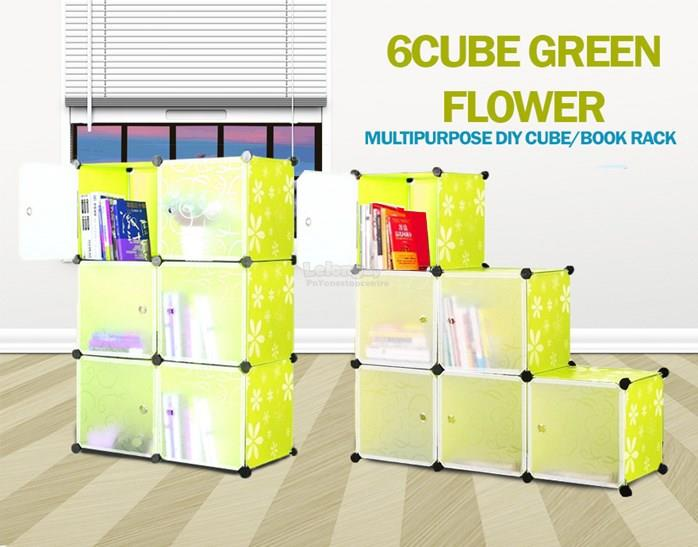 6 Cube DIY CUBE / BOOK RACK Plain Black / Red / Flower Green