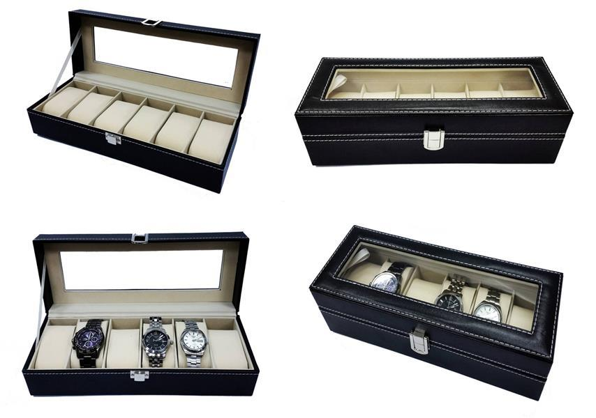 6 Slots PU Leather Watch Display Case Storage Watch Box