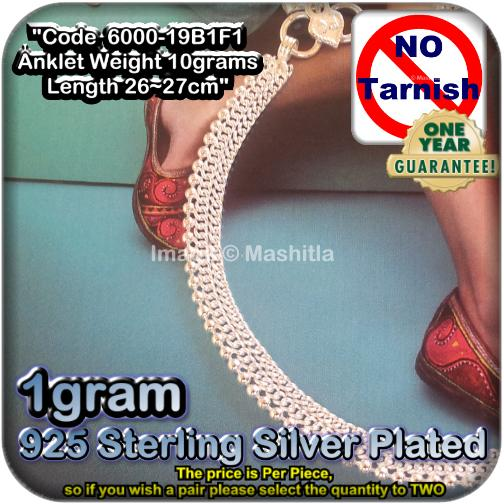 6000-19B1F1 1g Sterling Silver Plated White Metal Anklet Ankle Chain B