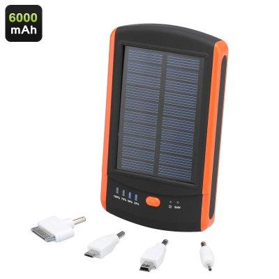 6000mAh Solar Power Bank - Dual USB Port, LED Charge Lights, 4 Adapter