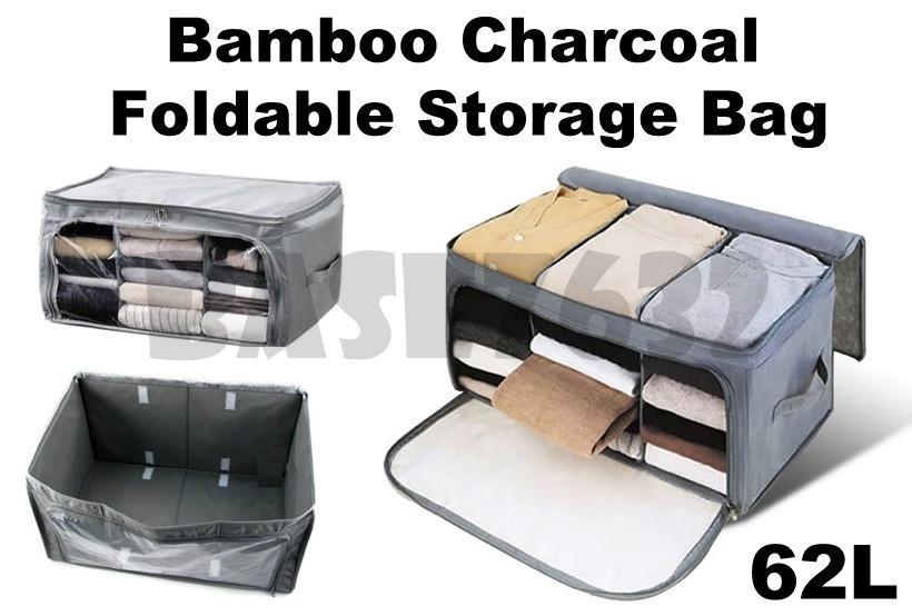 62L Bamboo Charcoal Foldable Window Long Storage Organizer Box 1584.1