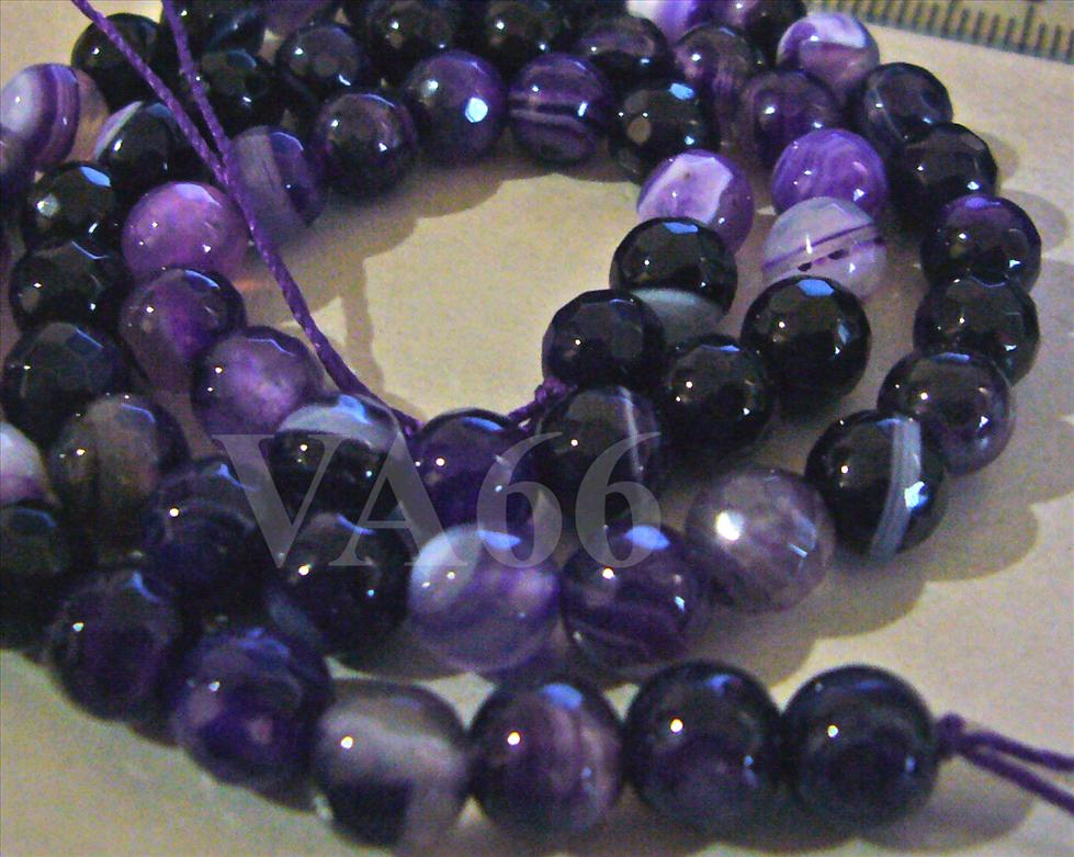 6mm Purple Dyed White Jade Line Gemstone Beads Facetted Round Gems Loo..