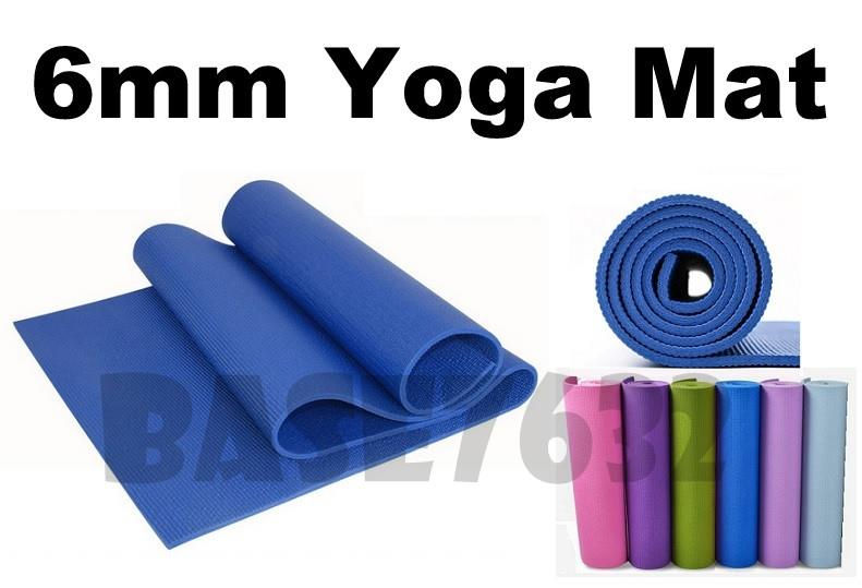 6mm  PVC Yoga Mat 173cm x 61cm Thick Slip-Resistant Waterproof Pad