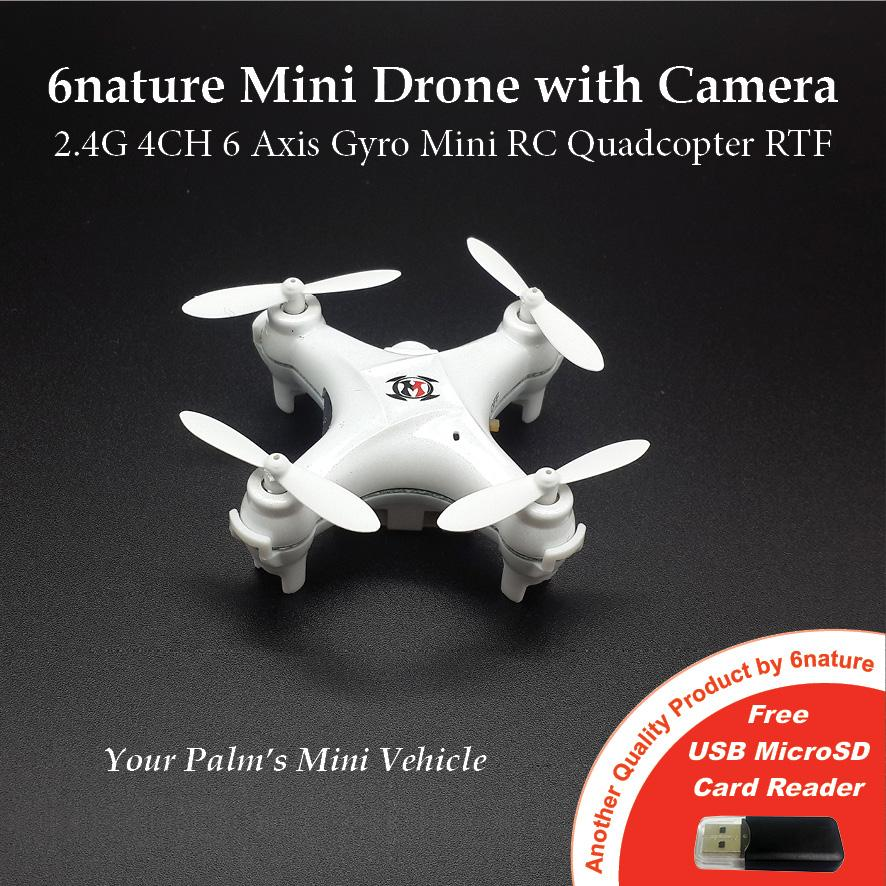 6nature Mini Drone with Camera 2.4G 4CH 6 Axis Gyro (White)