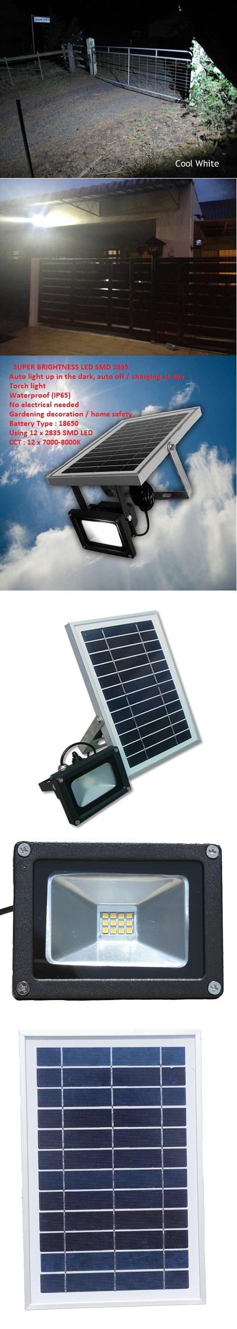 6W Solar Panel Integrated LED Spot Light/Garden Lamp~On Whole Night