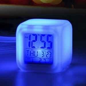 7 Color Mood Calendar Alarm Clock - With Thermometer