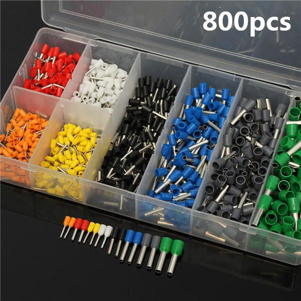 800Pcs AWG 10-22 Wire Copper Crimp Connector Insulated Cord Pin End Te